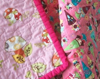 Gnome Baby Quilt, Mushroom Quilt, Modern Baby Quilt,  Nursery Bedding, Waldorf, Baby Girl, Pink,  Woodland, Gnomes, Handmade Quilt