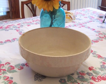 Antique Pottery Bread Bowl, Dough Bowl, Beige Stoneware Bowl, Over 110 yrs old, 1900s-1920s