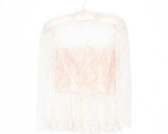 SALE Sheer 70s Blouse * Lace Ruffle Shirt * Peplum Blouse * Small
