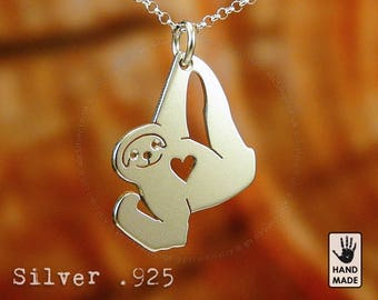 Confident SLOTH Handmade  Sterling Silver .925 Necklace in a gift box