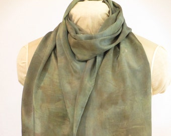 """Eco Fashion Silk Scarf - Gift for Her - Natural Dye - Blue-Green - HA14121601 -  approx. 14""""x70"""" (35 x 178cm)"""