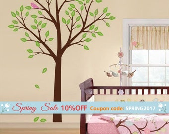 Tree and Birds Wall Decal, Tree Wall Decal for Nursery Kids Room Decor, Tree Nursery Decal, Tree Sticker, Baby Room Tree Decal
