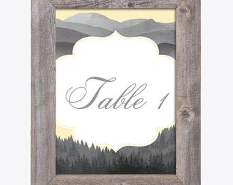 Table Numbers - Woodland Mountain Theme / Wedding / Bridal Shower / Baby Shower / Birthday Party