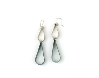 Earring - Wing Round Double Drop - Brass Patina Mix