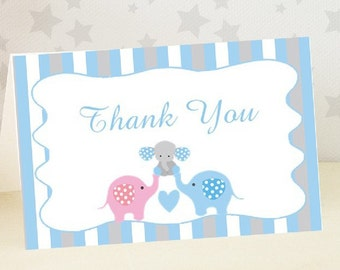 Baby Shower Thank You Card / Elephant / Baby Boy / 10 PRINTED Cards