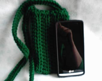 Crocheted Green Cross Body Cell Phone Pouch