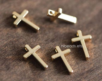 10pcs Gold plated Brass Cross Charms 13mm (GB-038)