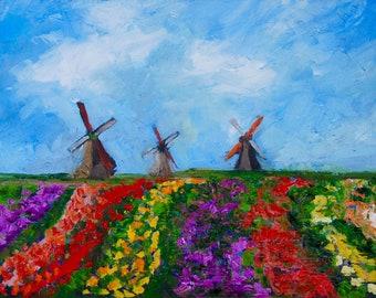 Modern Impressionist Original Oil Palette Knife Holland Landscape Dutch Tulips with Windmills by Rebecca Croft