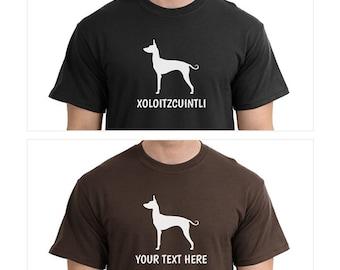 Xoloitzcuintli Dog Silhouette Custom T-Shirt - Men Women Youth Kids Long Sleeve Personalized Tee, mexican hairless dog xolo