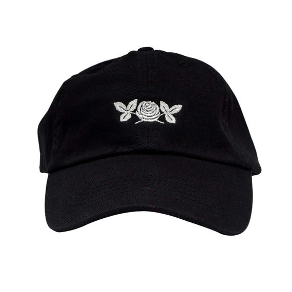 White rose dad cap. Black flower unstructured hat.