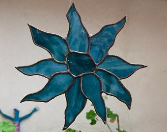 Stained Glass Suncatcher - Teal Blue Sunflower - Handmade Home Decor