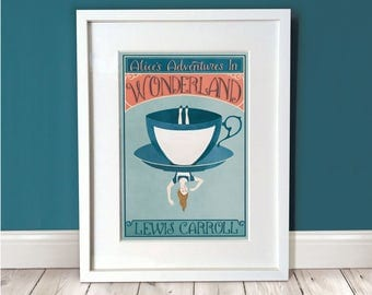 Alice In Wonderland Wall Art / Alice In Wonderland Print / A3 Art Print / Gift Idea / Wall Art / Wall Décor / Literary Gift / Home Decor