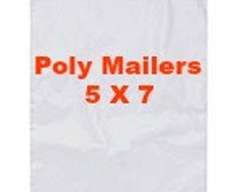 """25 poly mailers, 5"""" x 7"""", Self-Sealing Poly Mailers, White Poly Mailing Envelopes, Shipping Envelopes, White Plastic Mailing Envelopes"""