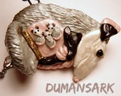 Momma Opossum and Babies Marsupial Necklace, mom and baby, mommy babies, mother, hidden babies, surprise necklace, opossum, jewelry, necklac