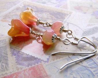 Pink Earrings, Long Pink and Yellow Dangle Earrings, Flower Earrings, Yellow Earrings, Sterling Silver Earwires, Lemonade, Silver Earrings