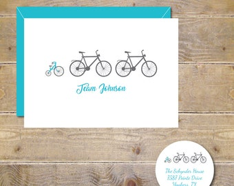 Baby Thank You Cards, Baby Shower, New Baby Cards,Baby Announcements, Birth Announcements, Bicycles, Bikes, Tricycles, Bikes, Tricycles