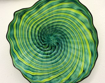 Beautiful Hand Blown Glass Art  Swirled Wall Platter Bowl GREEN  7527 ONEIL