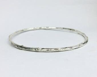 silver branch bangle bracelet twig bangle bracelet - botanical branch bracelet twig bracelet stackable bracelet nature jewelry