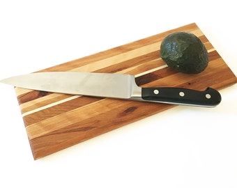 """Handmade Wood Cutting Board - Optional Engraving - Small Rustic Hickory and Cherry Wood with Hard Maple - 13-1/2"""" x 5-1/4"""" x 1/2"""""""