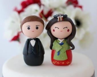 Personalized Korean wedding cake topper kokeshi figurines