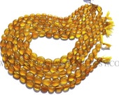 Semiprecious Gemstone Yellow Chalcedony Beads Oval Smooth Polished Beads (Quality AA) / 7.5x9.5 to 9x11 mm / 36 cm / CHALCEDON-011, Bead