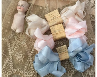 Seam Binding ribbon 12 metres 3 different vintage shades cream pink and blue by olive grove primitives