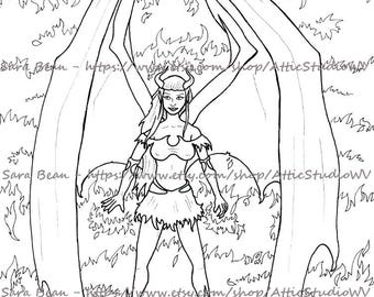 Adult Coloring Book ONE SINGLE PAGE to Color 8.5 by 11 Inches, Succubus Lovely Devil Demon Woman, Colored Pencil Ink Marker Fantasy Horror