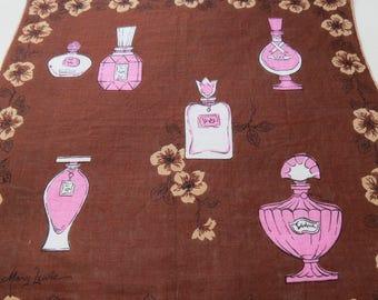 "Mary Lewis Vintage Handkerchief - Brown & Pink Perfume Bottles - 15"" square"
