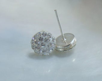 1 pair, Sterling Silver CZ Round Ear stud, Ear Nuts included  - EP-0056