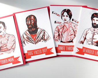SALE  -Letterpress Illustrated Series Card Pack - Circus Freaks