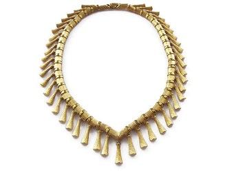 Kramer Necklace, Egyptian Revival, Gold Tone Fringe, Textured Metal, Vintage Necklace, Vintage Jewelry