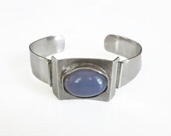 Sterling Chalcedony Cuff Bracelet - Sterling Silver, Chalcedony Stone, Modernist Jewelry, Sterling Bracelet, Vintage Bracelet