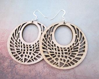 Natural Wood Earrings -- Tan Earrings -- Wood Hippie Earrings -- Light Wood Earrings -- Laser Natural Wood Earrings -- Wooden Teardrop