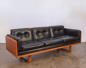 Paul Cadovius Basket Weave Black Tufted Sofa for France and Son