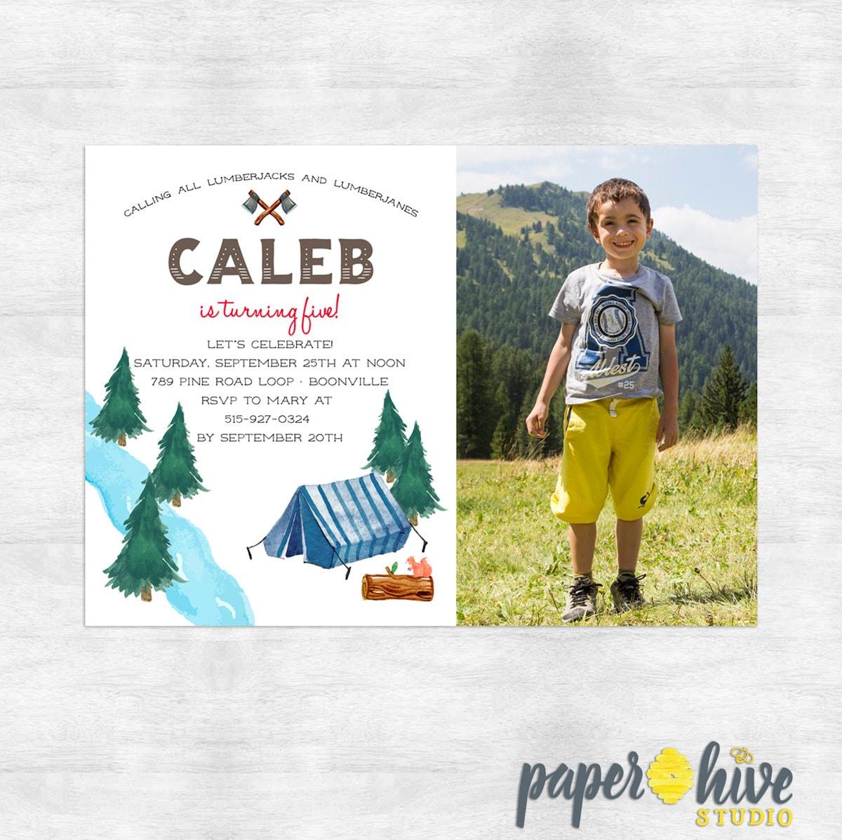 lumberjack birthday party invitations / boy birthday invites / girl ...