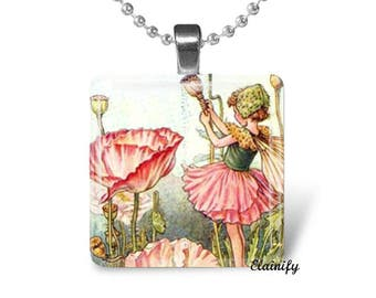 Shirley Poppy, flower fairy necklace, glass tile jewelry, fairy drawing, fairy artwork, salmon pink flower, magic tales