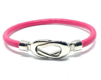 NEW!!! Pink Leather Wrap Bracelet, Stackable Bangle, Knot Twist Leather Bracelet, Layering Bracelet, Gift for Her, Bohemian Chic