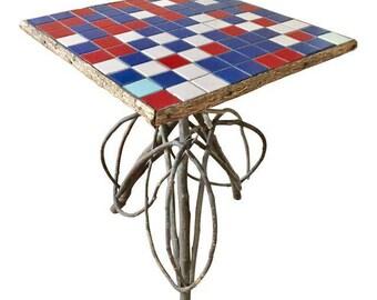 Vintage Adirondack Twig & Tile Side Table