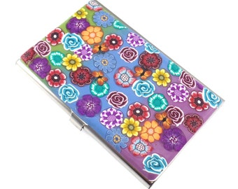 Polymer Clay Business Card  Case, Colorful Stocking Stuffer, Flowers and Butterflies