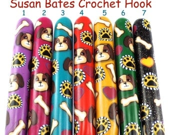 Crochet Hook, Polymer Clay Covered Susan Bates Crochet Hook, Dog Design