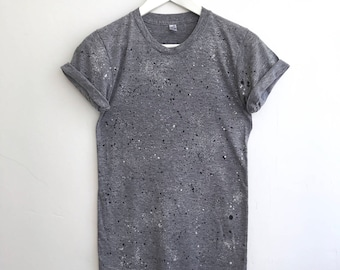 Speckled Track Tee - Printed Tshirt - Graphic Tee in Black and White Granite Print