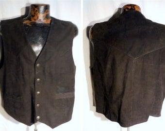 Mens 80s Vintage Saguaro West Trading Co snap button up Black supple Leather Casual Vest sz L (20 % DISCOUNT APPLIED)