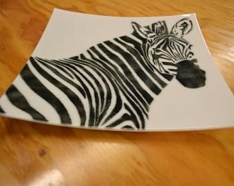 Zebra Dinner Plate, Fused Glass, Safari Animal Print, Black and White, Zebra Decor, Home Decor, African Decor, Jungle Print