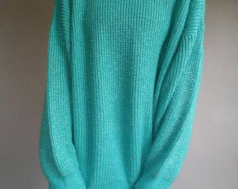 Vintage TEAL Silver COMFY tunic Slouchy Sweater  (s-m)