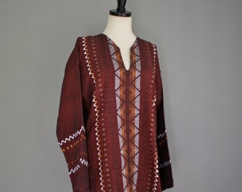 30% off// Vintage BOHO Wine MEXICAN Long Sleeve Tunic  Blouse (L)
