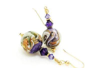 Purple & Gold Earrings, Murano Glass Earrings, Lampwork Earrings, Glass Earrings, Unique Earrings, Glass Art Earrings