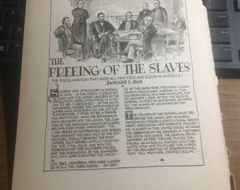 Freeing of the slaves 1863 emancipation proclamation 1863. 1933 book page history print illustration . Art frameable history