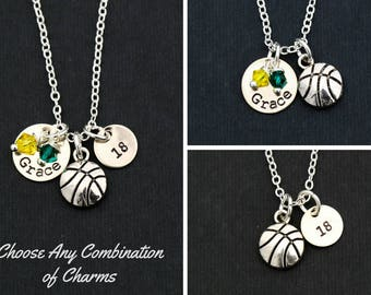 SALE • Basketball Team Gift Basketball Jewelry • Sports Basketball Necklace Custom Basketball Keychain Girls Basketball Coach Gift Women