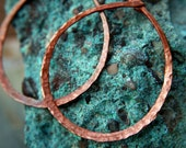 Hammered Copper Hoop Earrings, Rain Drops, organic style,eye catchers,handmade,indie artist, wire wrap, Lemurian Diamond, shabby chic gifts