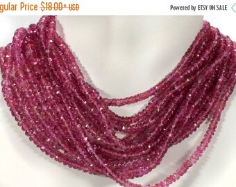 ON SALE AAA Pink Tourmaline Rondelles Rubellite Faceted Mined Semiprecious Stone October Birthstone - 2, 4, 8 or 16-Inch Strand  2.8 - 4mm